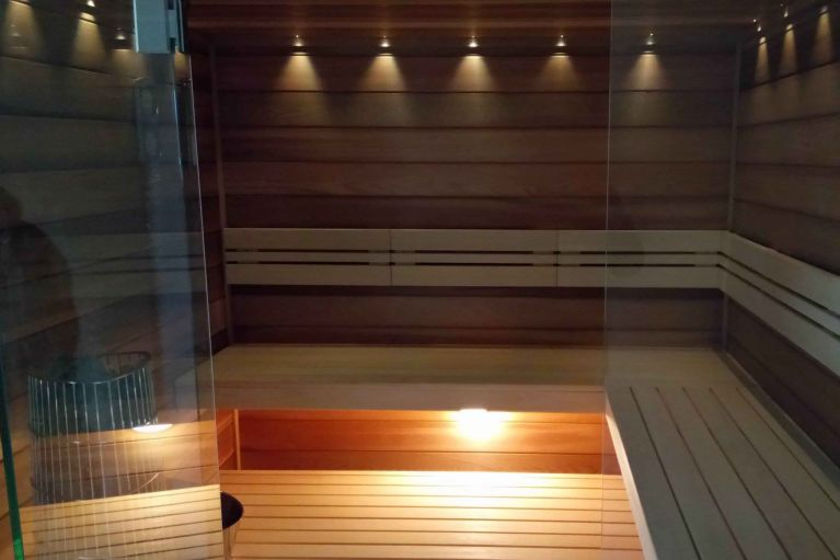 Finnish sauna CARETTA SPA with cedar interior and Caritti lights